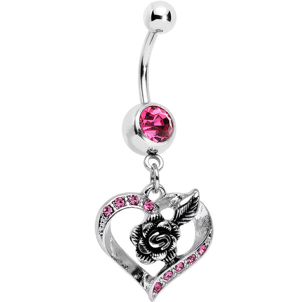 Pink Gem Tattoo Rose Flower in a Hollow Heart Dangle Belly Ring
