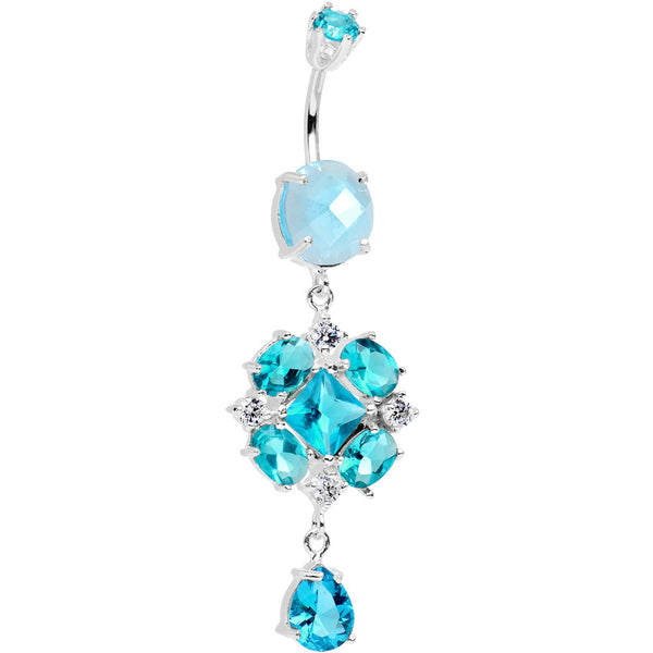 925 SilverClear Aqua CZ Pretty Princess Dangle Belly Ring