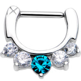 "16 Gauge 5/16"" Five Clear and Blue Cubic Zirconia Septum Clicker"