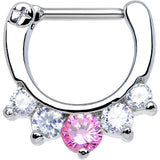 "16 Gauge 5/16"" Five Clear and Pink Cubic Zirconia Septum Clicker"