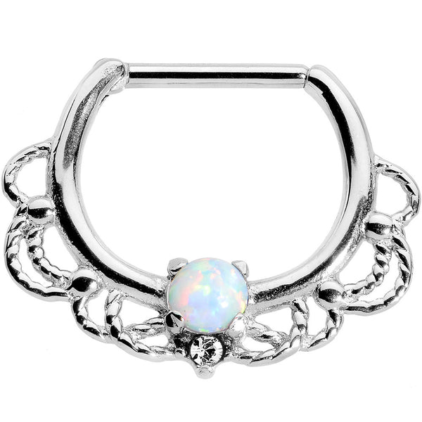 "16 Gauge 5/16"" White Faux Opal Nautical Gypsy Septum Clicker"