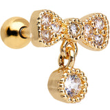 16 Gauge Gold Anodized Stainless Steel CZ Bow Tragus Earring