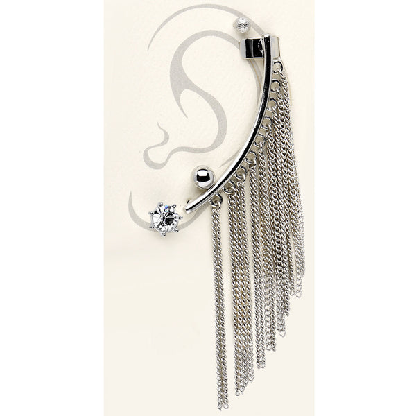 Silver Tone Clear Stud Chain Ear Cuff Earring Set