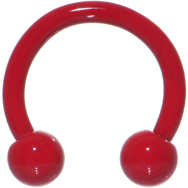 14 Gauge 3/8 Red Ceramic Coated Horseshoe Circular Barbell