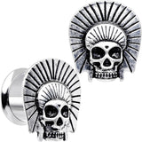 "1/2"" Stainless Steel Indian Chief Skull Screw Fit Plug Set"