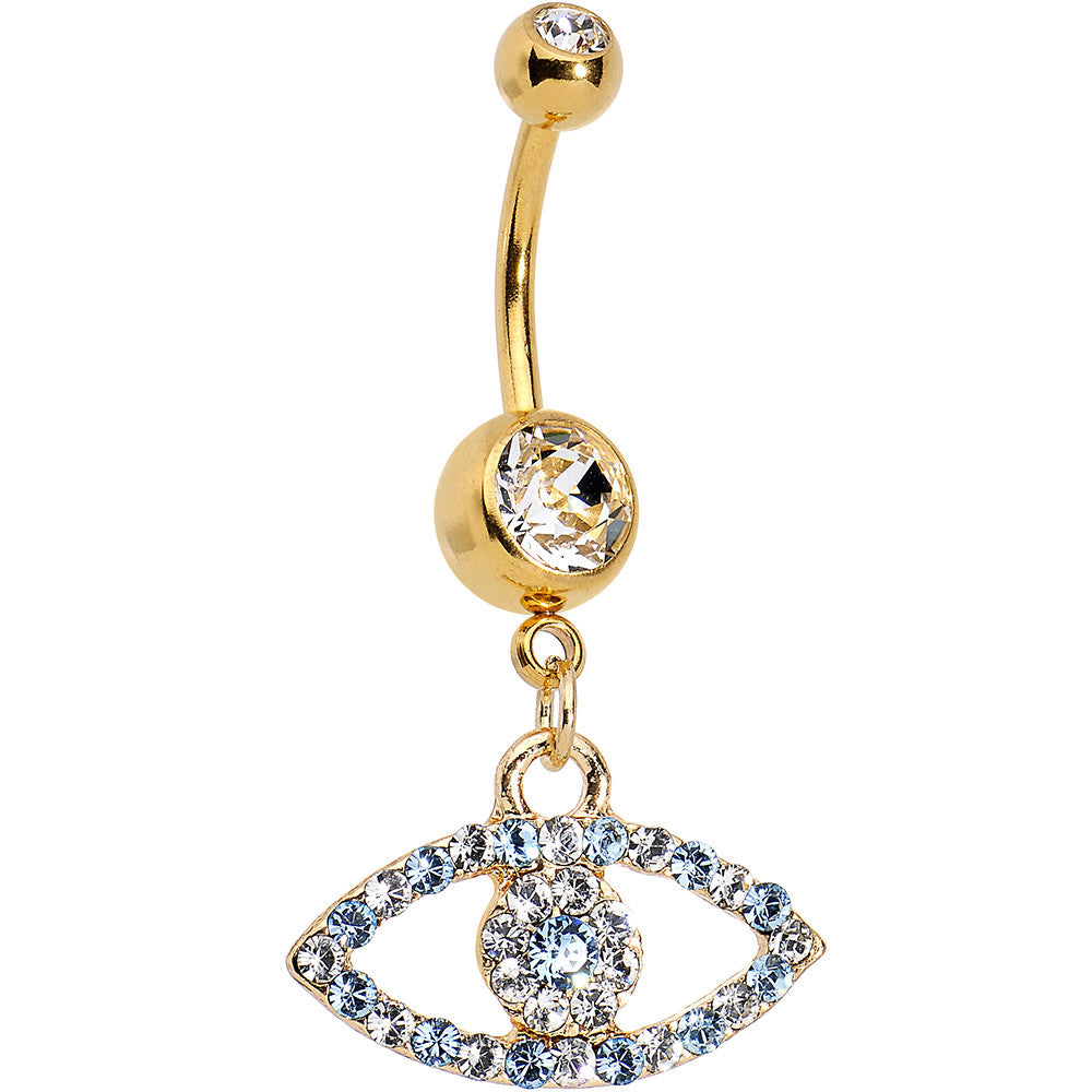 Gold Anodized Blue Evil Eye Belly Ring Created With Swarovski Crystals