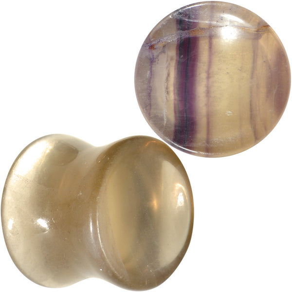 "1/2"" Colors of the Sea Natural Fluorite Stone Concave Saddle Plug Set"