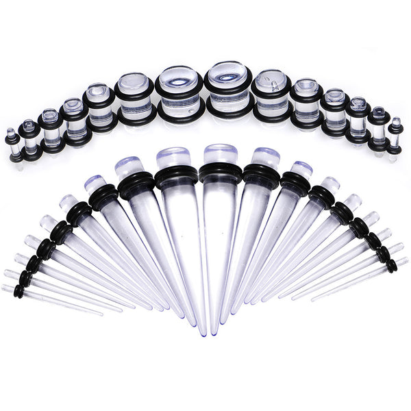 Clear Acrylic Taper Plug Kit - 32 Piece 14 to 00 Gauge Ear Stretchers