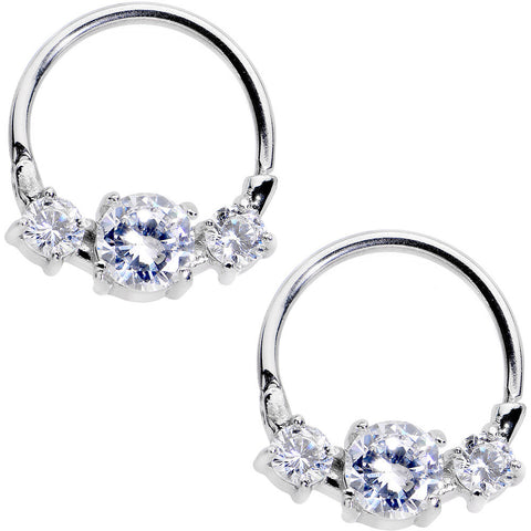 Clear Gem Nipple Clicker Set Created with Swarovski Crystals