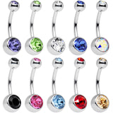 10 Piece Multicolor Belly Ring Pack Set Created with Swarovski Crystals