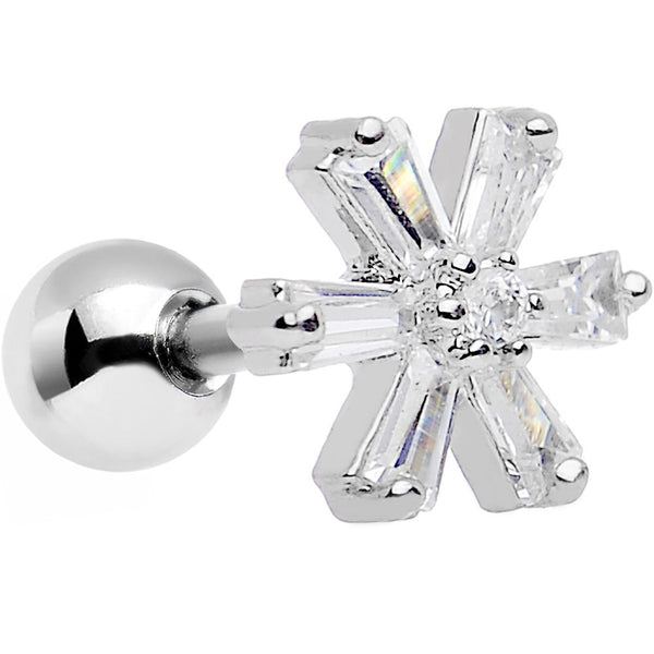 Clear CZ Gem Hit the Slopes Snowflake Tragus and Cartilage Earring