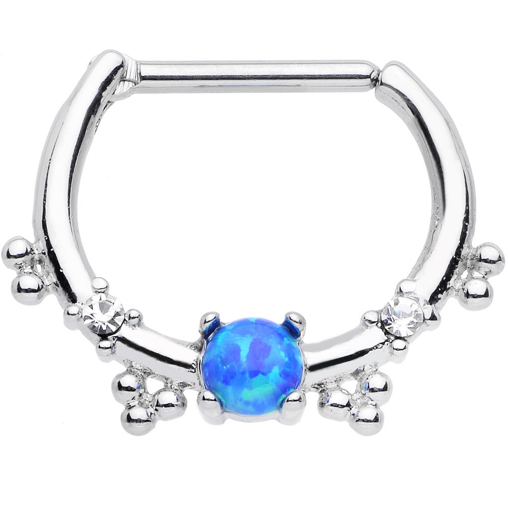 16 Gauge Clear Gem Blue Imitation Opal Simple Septum Clicker