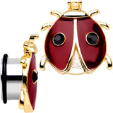 "5/8"" Red and Black Ladybug Stainless Steel Single Flare Plug Set"
