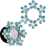 0 Gauge Aqua and Aurora Gem Snowflake Steel Tunnel Plug Set
