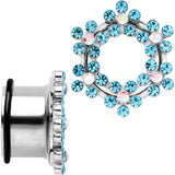 18mm Aqua and Aurora Gem Snowflake Steel Tunnel Plug Set