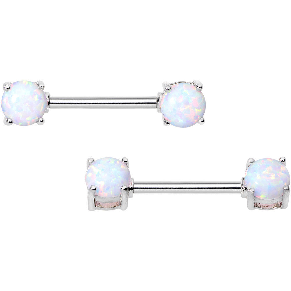 14 Gauge 9/16 Stainless Steel White Synthetic Opal Nipple Barbell Set