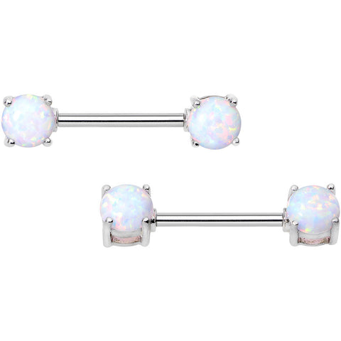 "14 Gauge 9/16"" Stainless Steel White Synthetic Opal Nipple Barbell Set"