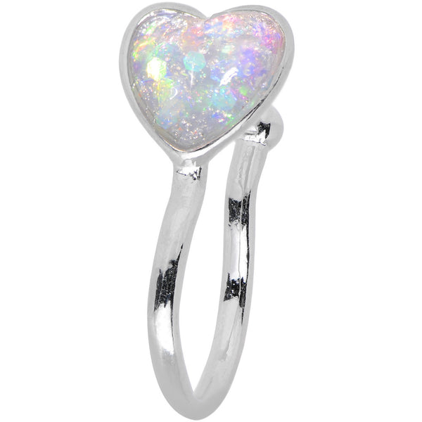 White Synthetic Opal Rhodium Plated Heart Clip On Nose Ring
