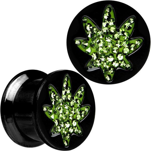 "1/2"" Black Plated Ganja Green Pot Leaf Saddle Stash Plug Set"