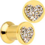 2 Gauge Gold Plated Steel Clear Gem Heart Saddle Stash Plug Set
