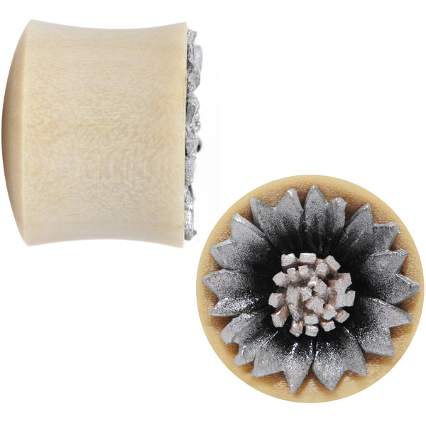 9/16 Crocodile Wood Metallic Leather Flower Saddle Plug Set