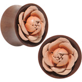 "7/8"" Red Saba Wood Peach Leather Flower Saddle Plug Set"