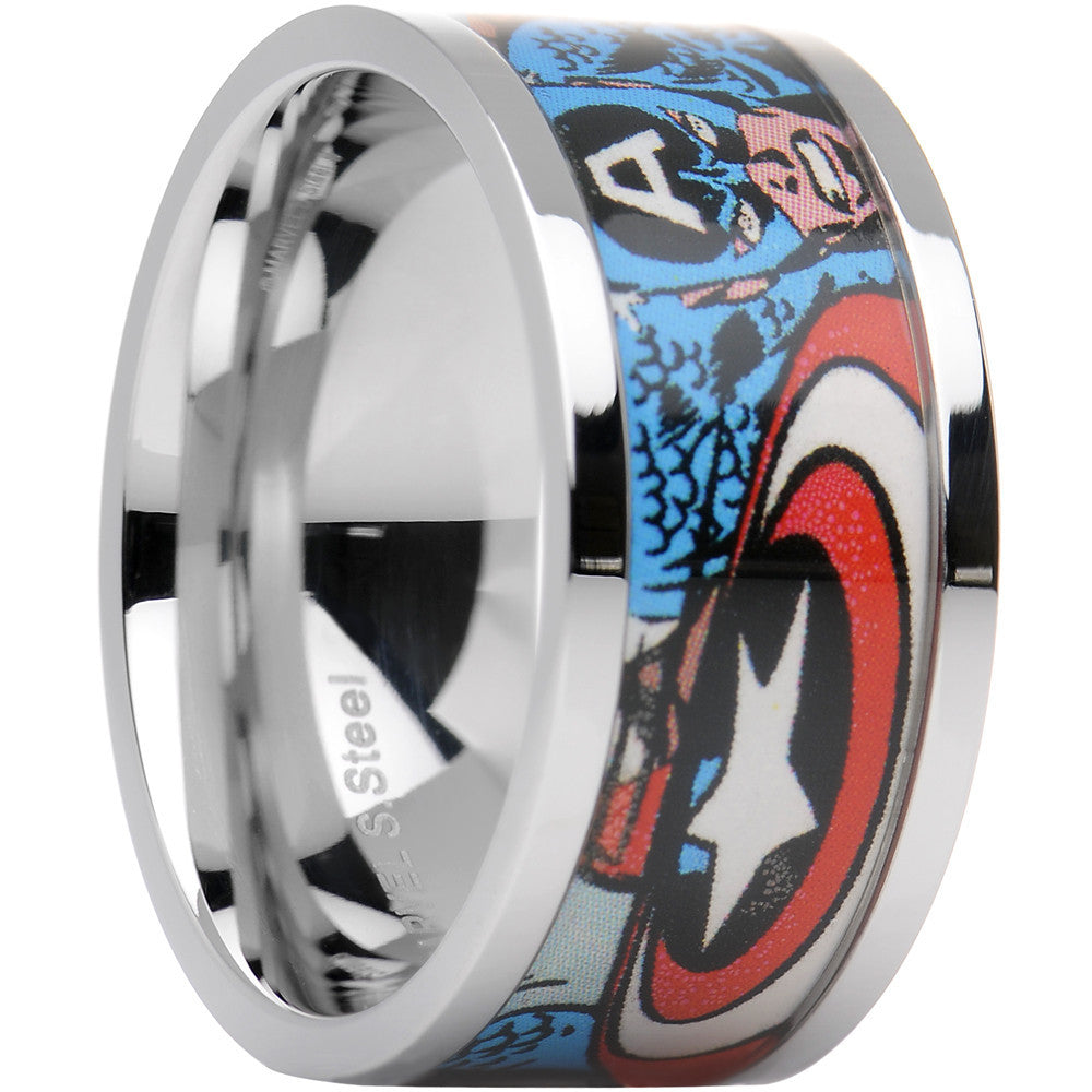 This is an image of Officially Licensed Marvel Captain America Steel Printed Comic Ring