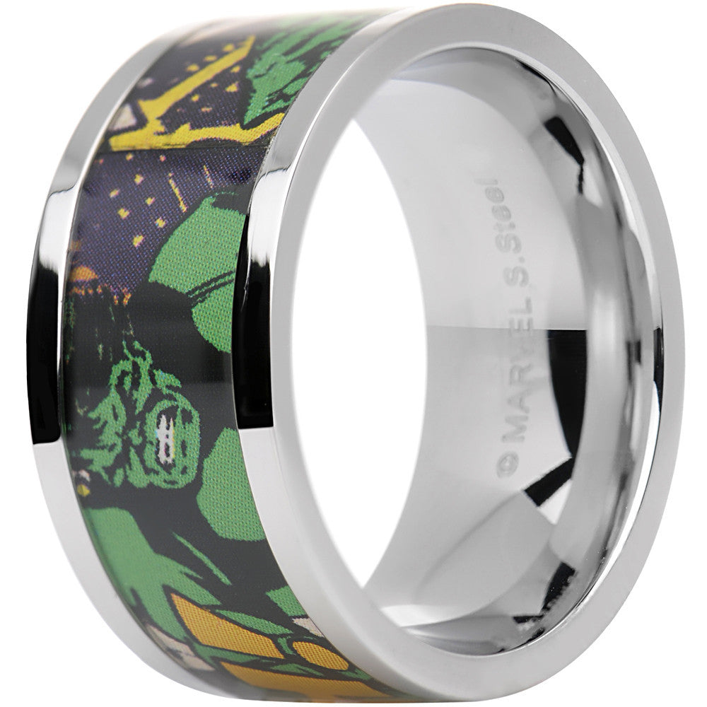 It is an image of Officially Licensed Marvel Hulk Steel Printed Comic Ring