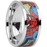 Officially Licensed Marvel Spider Man Steel Printed Comic Ring