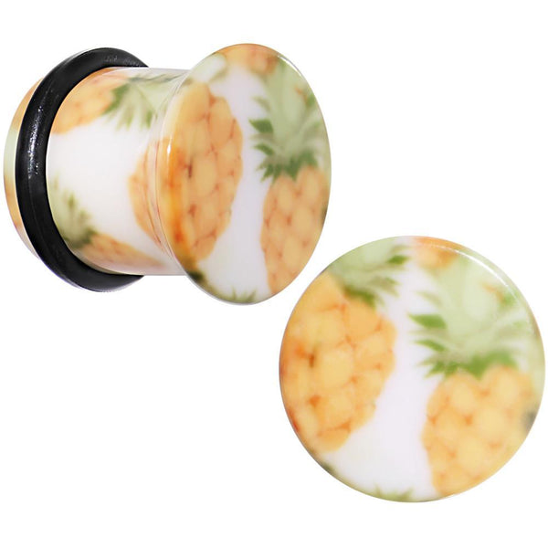 White Acrylic Pineapple Single Flare Plug Set Available in Sizes 3mm to 16mm