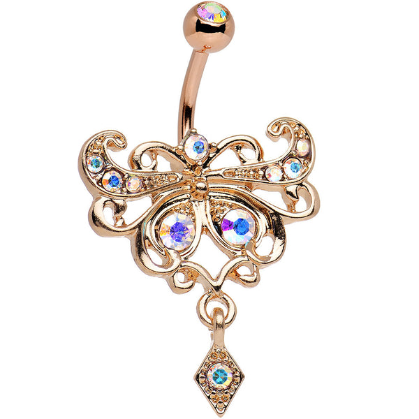 Aurora Rose Gold Anodized Steel Maharani Butterfly Belly Ring