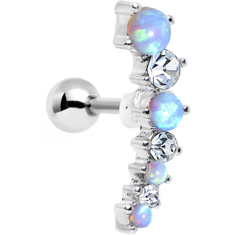 Blue Synthetic Opal Clear Gem Steel Left Cartilage Earring