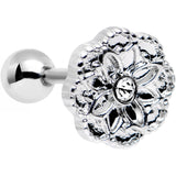 "16 Gauge 1/4"" Clear Gem Steel Mandala Flower Tragus Cartilage Earring"