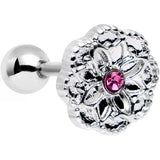 16 Gauge 1/4 Pink Gem Steel Mandala Flower Tragus Cartilage Earring