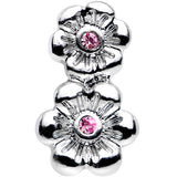 "16 Gauge 1/4"" Pink Gem Steel Double Flower Tragus Cartilage Earring"