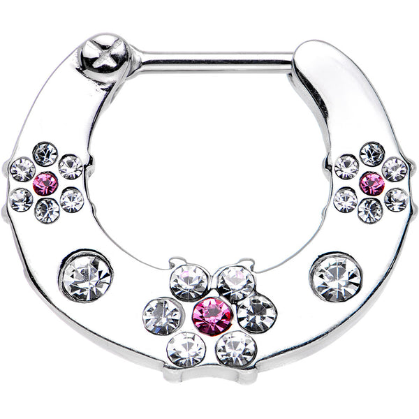 "16 Gauge 5/16"" Clear and Pink Gem Steel Flower Septum Clicker"