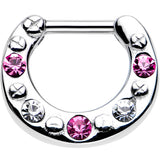 "14 Gauge 1/4"" Pink and Clear Gem Steel Septum Clicker"