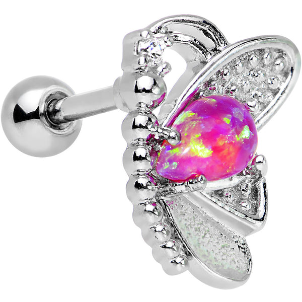 Pink Synthetic Opal Clear Gem Butterfly Right Cartilage Earring
