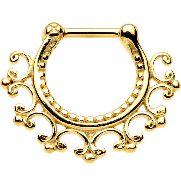 16 Gauge 1/4 Gold IP Lace Edged Tribal Septum Clicker