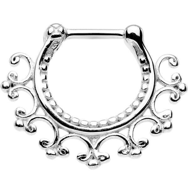 "16 Gauge 1/4"" Stainless Steel Lace Edged Tribal Septum Clicker"