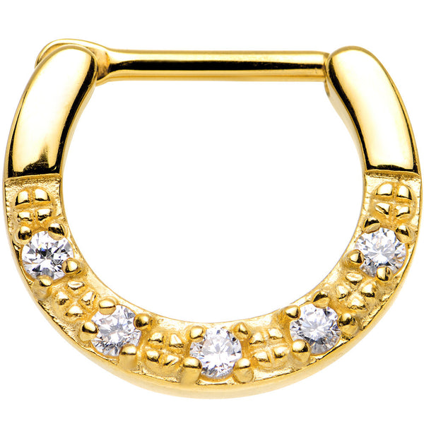 "16 Gauge 5/16"" Clear CZ Gold IP Paved Crescent Septum Clicker"