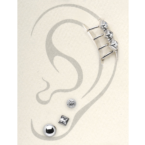 Silver Tone Clear Ball Stud Earrings and Triple Clear Ear Cuff Set