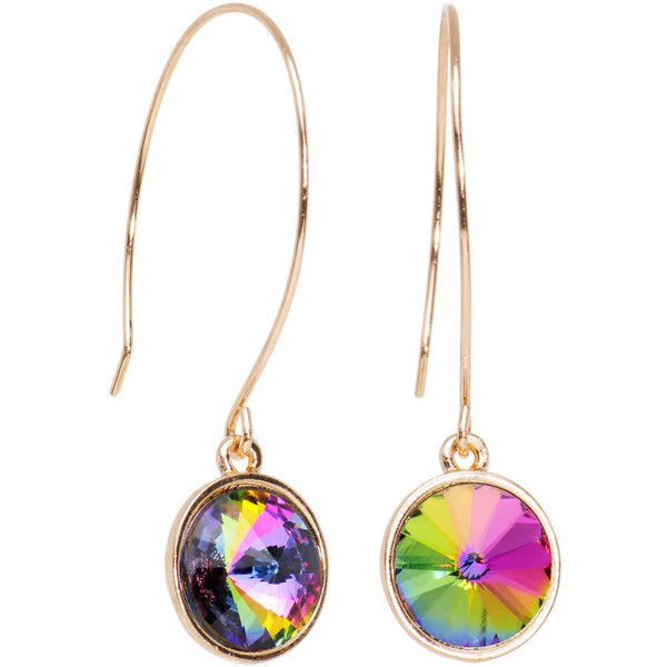 Aurora Gold Tone Pendulum Sphere Fish Hook Earrings