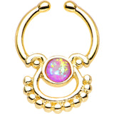 Pink Synthetic Opal Gold Anodized Egyptian Goddess Clip On Septum