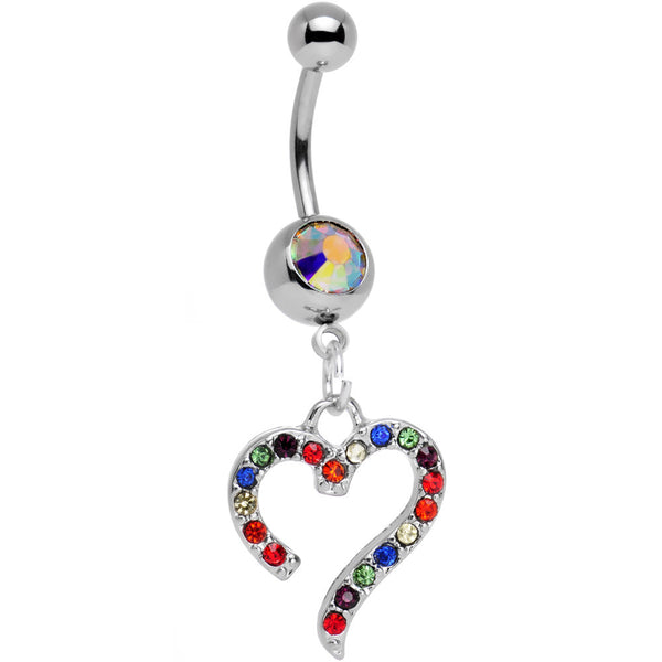Aurora Gem Stainless Steel Rainbow Heart Dangle Belly Ring
