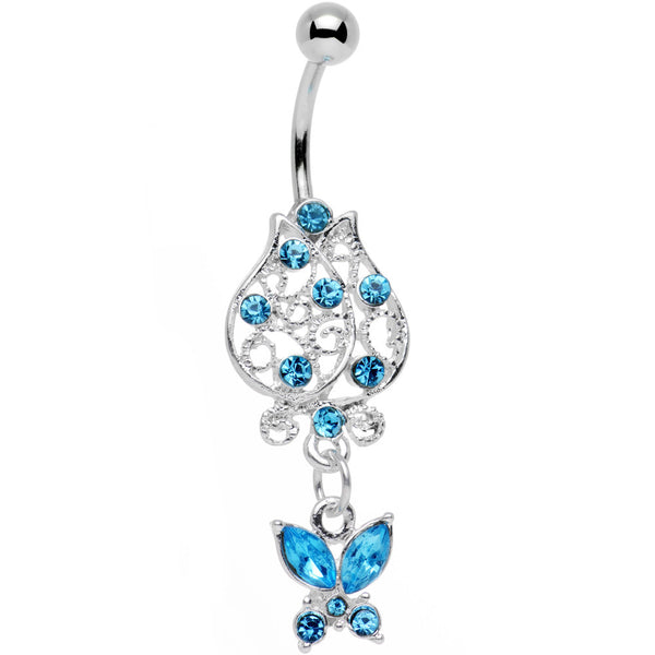 Aqua Gem Framework Flower Butterfly Dangle Belly Ring
