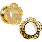 "9/16"" Gold PVD Filigree Flower Screw Fit Tunnel Plug Set"