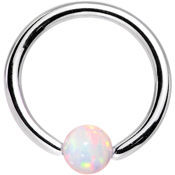 16 Gauge 5/16 3mm White Synthetic Opal Steel BCR Captive Ring