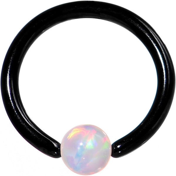 "16 Gauge 5/16"" White Synthetic Opal Black IP Steel BCR Captive Ring"