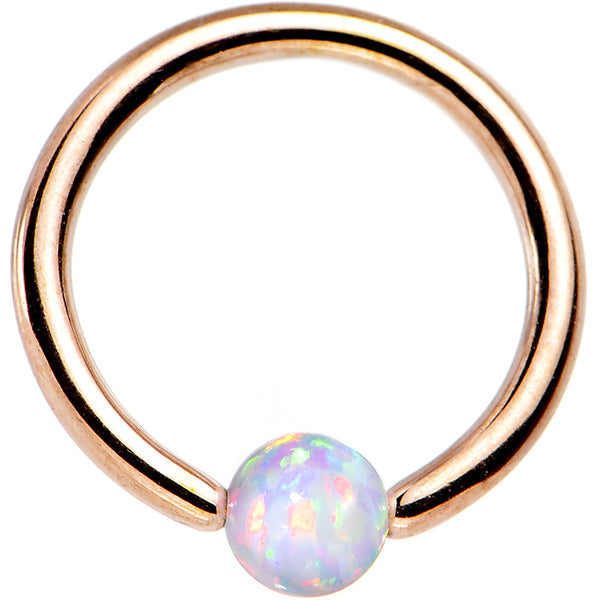 "16 Gauge 5/16"" 3mm White Synthetic Opal Rose Gold IP BCR Captive Ring"